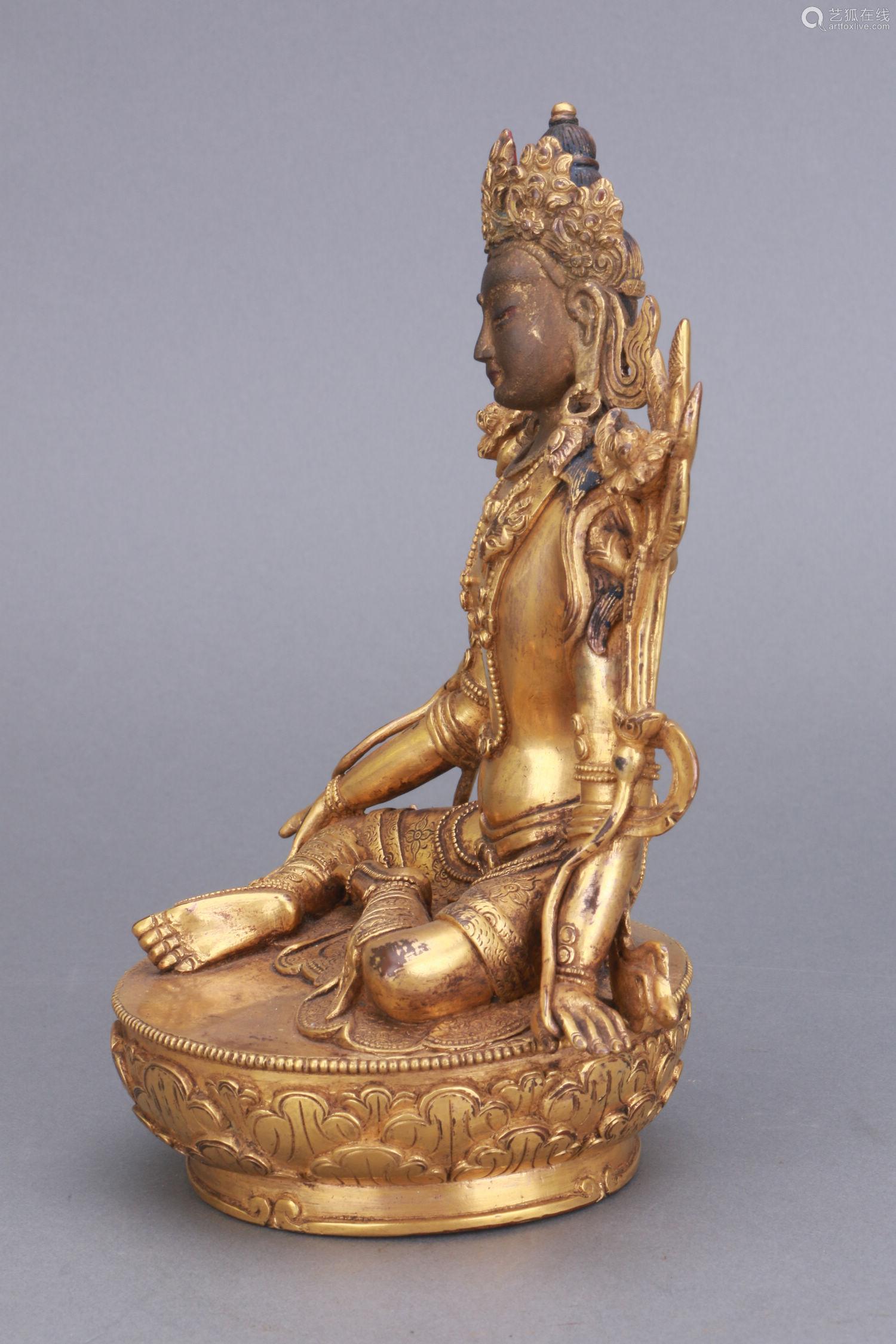 清 铜鎏金度母