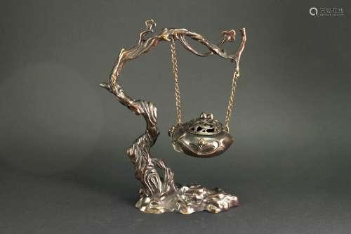 日本铜质梅树吊环香熏炉