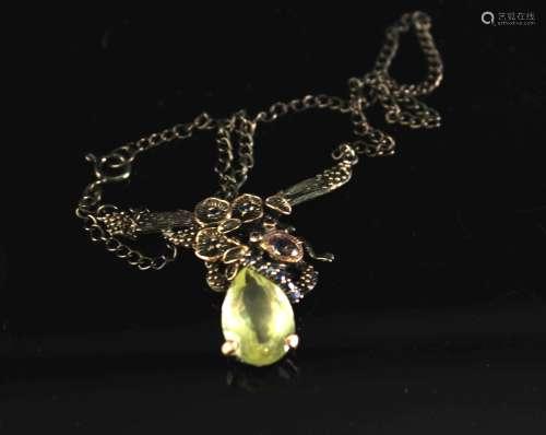 铜镶柠檬晶和紫水晶项链