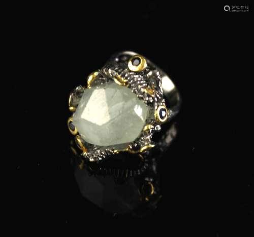 合金镶海蓝宝和蓝宝石戒指