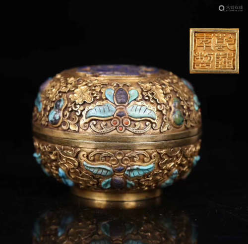 A GILT BRONZE BUTTERFLY AND GOURD PATTERN BOX