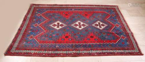 Large old Persian rug. Multi-colored, floral. Size: 248