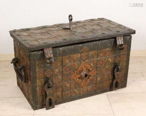 Large 17th century German iron money box with original