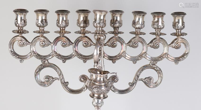 Beautiful Jewish candlestick, Hanukkah, silver 925/000.