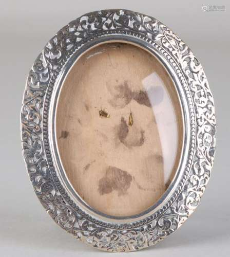Silver photo frame, 835/000, oval model with openwork