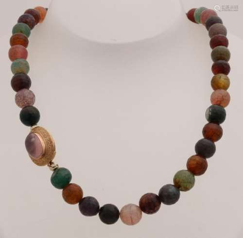 Necklace of colored faceted agate beads, ø 10 mm,