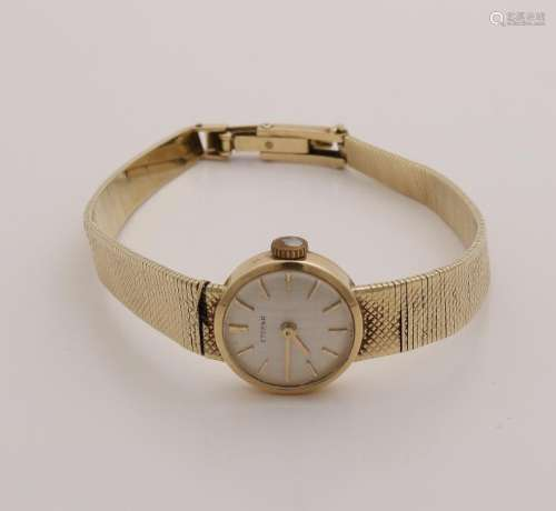 Yellow gold ladies watch, 585/000, with edited band.