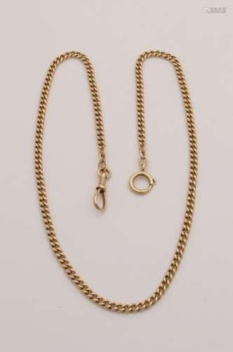 Yellow gold watch chain, 585/000, solid convex gourmet