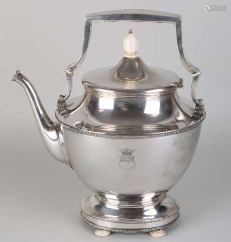 Beautiful silver bouilloir, oval shaped model decorated