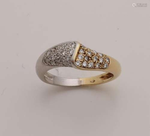 Golden ring, 585/000, with diamonds. Ring with a half