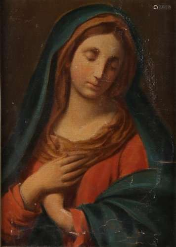 Unsigned. Circa 1920. Madonna. Damaged. Oil paint on