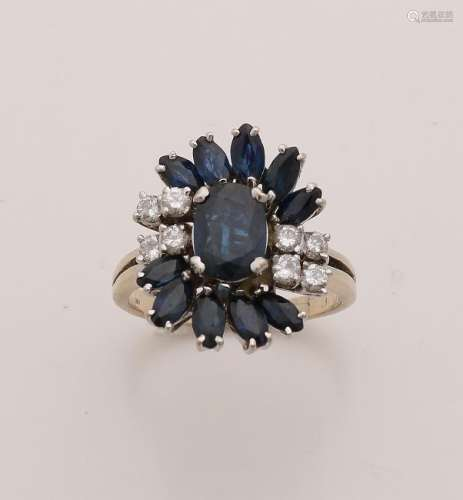 Elegant yellow gold ring, 750/000, with sapphire and