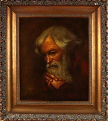 PP Sander. Portrait man with beard. Oil paint on linen.