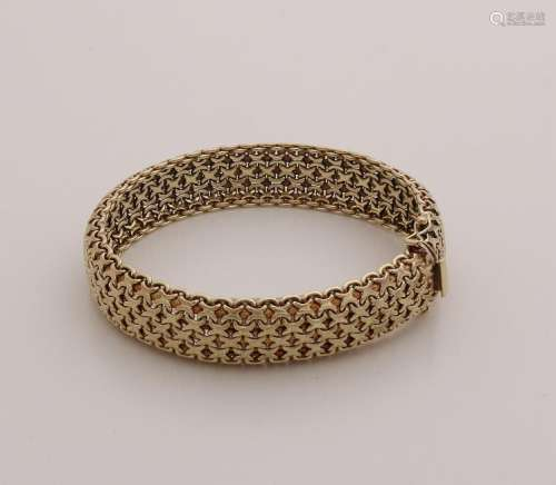 Yellow gold bracelet, 585/000, with a classic braided
