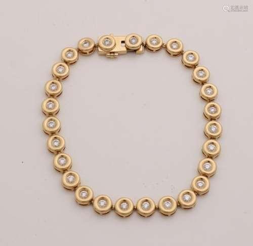 Yellow gold bracelet, 750/000, with diamonds. Bracelet