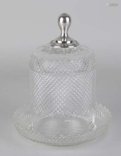 Crystal biscuit box on saucer with lid with silver