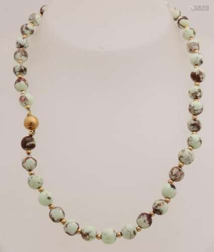 Necklace of jasper beads, ø 7,5mm, with small