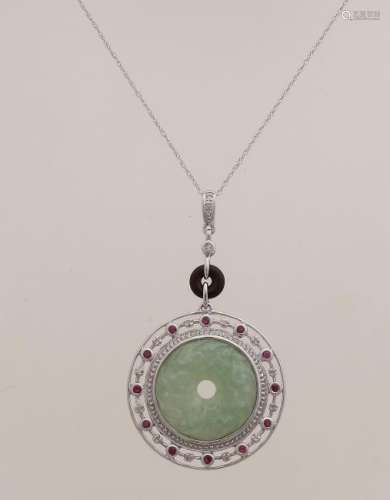 White gold pendant, 585/000, with jade, ruby and