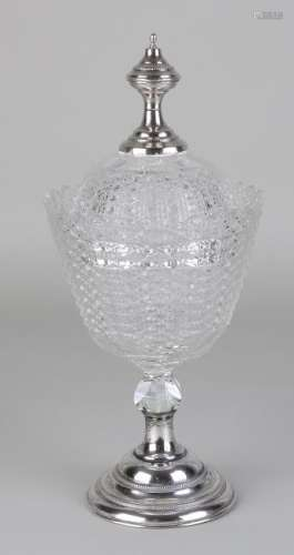 Crystal candy coupe with silver button and base,