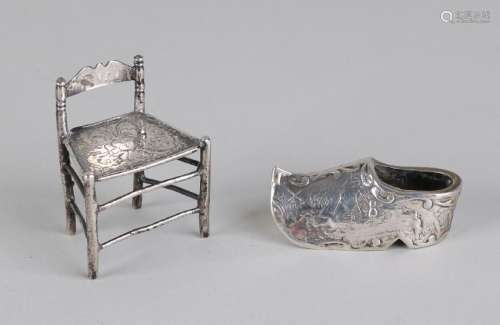 Two silver miniatures, 833/000, a knob chair with a