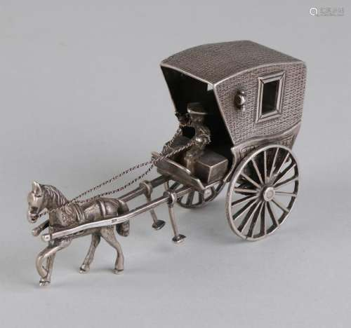 Silver miniature in the form of a coach, 835/000, with