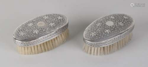 Set oval clothes brushes. Equipped with silver hood