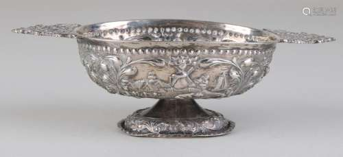 Small silver brandy bowl, 833/000, on oval foot with