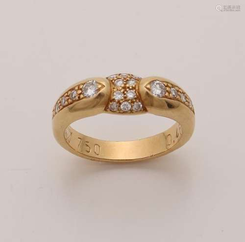Yellow gold ring, 750/000 with diamonds. Fantasy model