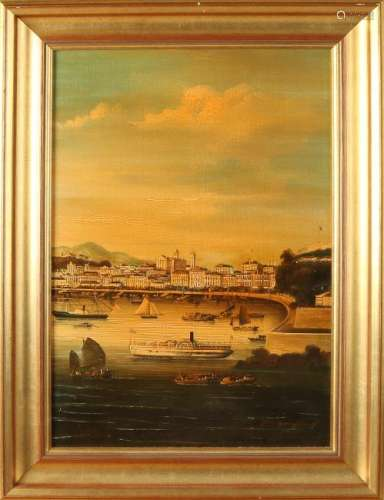 Pongioing. Chinese School. Harbor view with ships. Oil