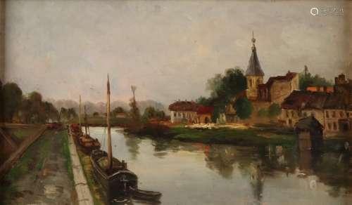 Monogram EH Verso E. Henseler. Circa 1880. Village view