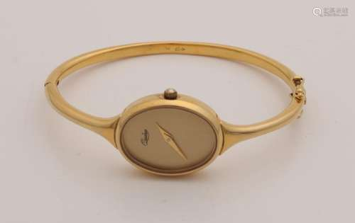 Beautiful yellow gold watch, 750/000, oval case,