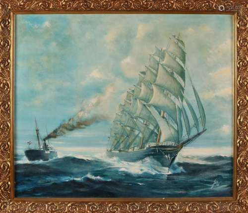 J. Smit '86. Dutch three-master and steamer at sea. Oil