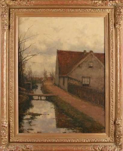CM Garms. 1863 - 1944. Stream along farm house. Oil