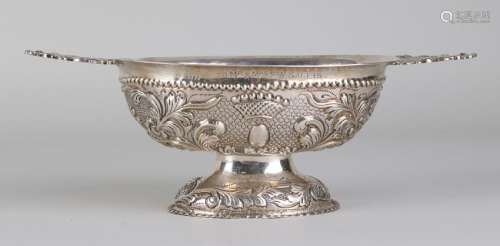 Dutch silver oval brandy bowl with floral arrangement