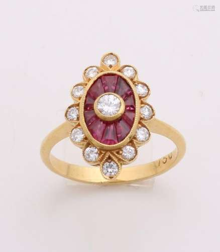 Elegant yellow gold ring, 750/000, with ruby and