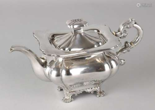 Silver tea can, 833/000, rectangularly-contoured model