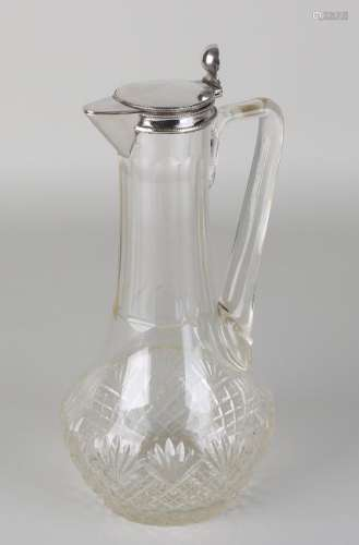 Antique 19th century cut crystal jug with diamond and