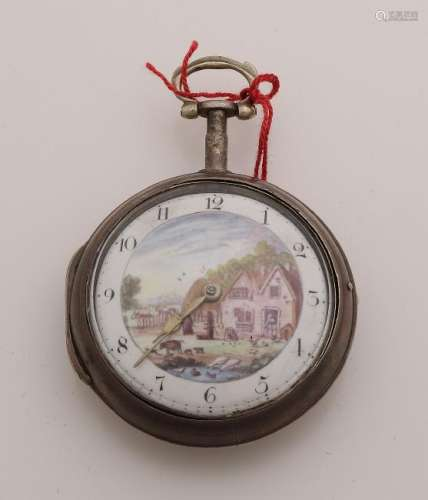 Silver pocket watch, in silver protective case,