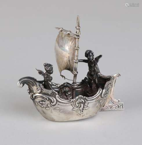 Silver miniature boat, 925/000, decorated with volutes