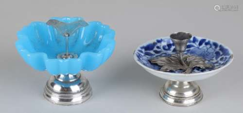 Candlestick and bonbon dish with silver, 835/000.