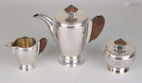 Silver dinnerware, 3 pieces, Art Deco, with a tea pot,