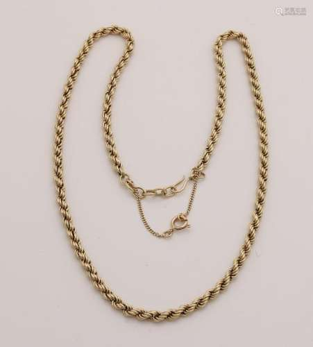 Yellow gold cord necklace, 585/000, ø 4 mm.