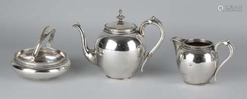 Silver tableware, 833/000, 3 parts with tea jug, milk