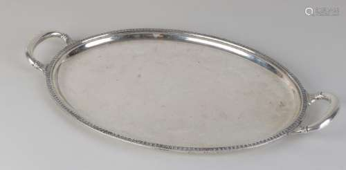 Silver tray, 800/000, oval model with rounded handles.