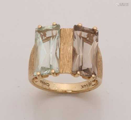 Rough yellow gold ring, 585/000, with aquamarine and