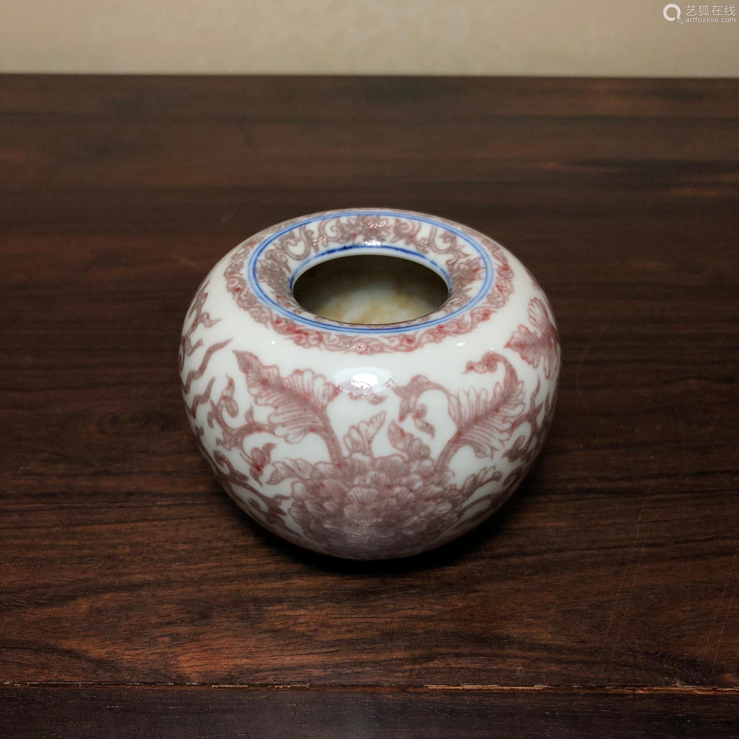 清代 青花釉里红折枝牡丹纹苹果尊