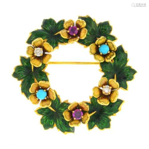 An early 20th century 18ct gold enamel and gem-set