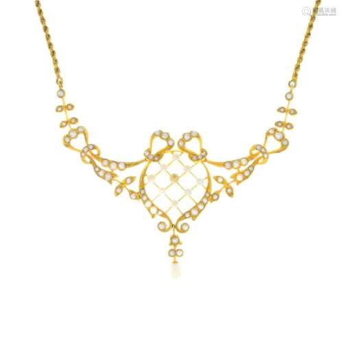 An early 20th century 15ct gold pearl, seed pearl and
