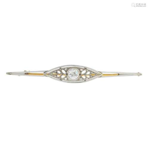 An early 20th century gold diamond brooch. Of openwork,