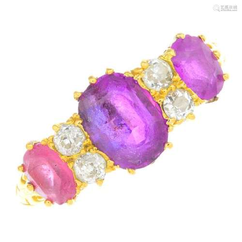 An early 20th century gold Thai ruby, diamond and